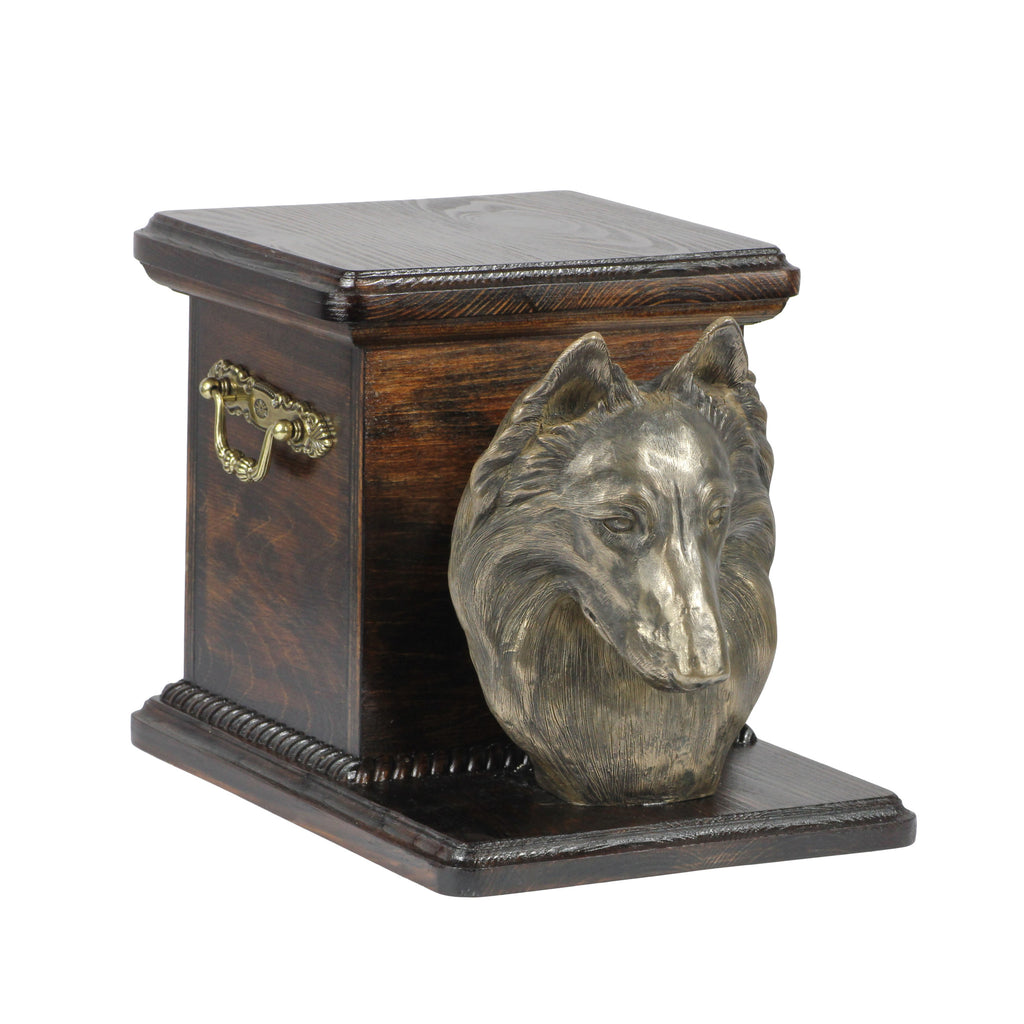 Beautiful  wood casket cremation  urn for dog's ashes with  standing statue  Belgian Shepherd (14) - unique.urns_caskets