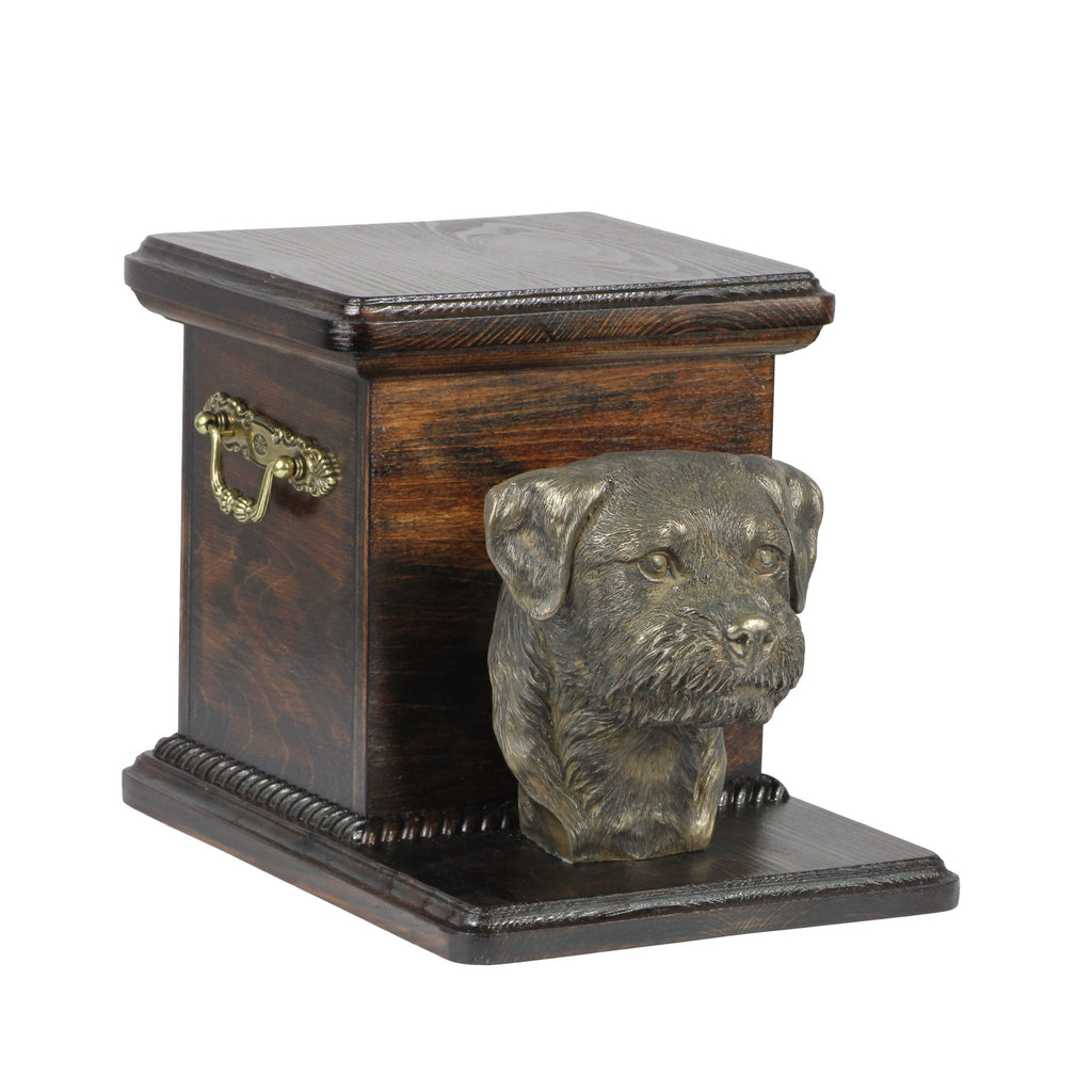 Pet urn for ashes , dog ashes box ,Border Terrier.Cremation casket.