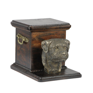 Solid wood casket cremation  urn for dog's ashes with  standing statue Border Terrier (17) - unique.urns_caskets