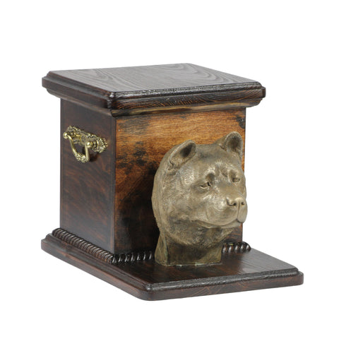 Beautiful  wood casket cremation  urn for dog's ashes with  standing statue  Akita Inu (3)