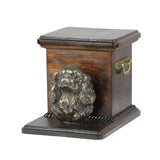 Beautiful  wood casket cremation  urn for dog's ashes with  standing statue Cavalier King Charles Spaniel(28)