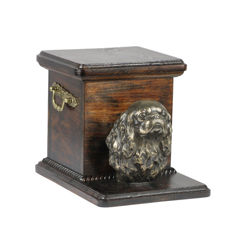 Beautiful  wood casket cremation  urn for dog's ashes with  standing statue Cavalier King Charles Spaniel (28) - unique.urns_caskets