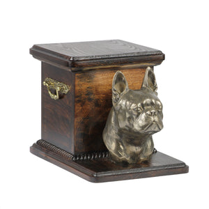 Wood casket cremation urn for dog's ashes with standing statue Boston Terrier (19) - unique.urns_caskets