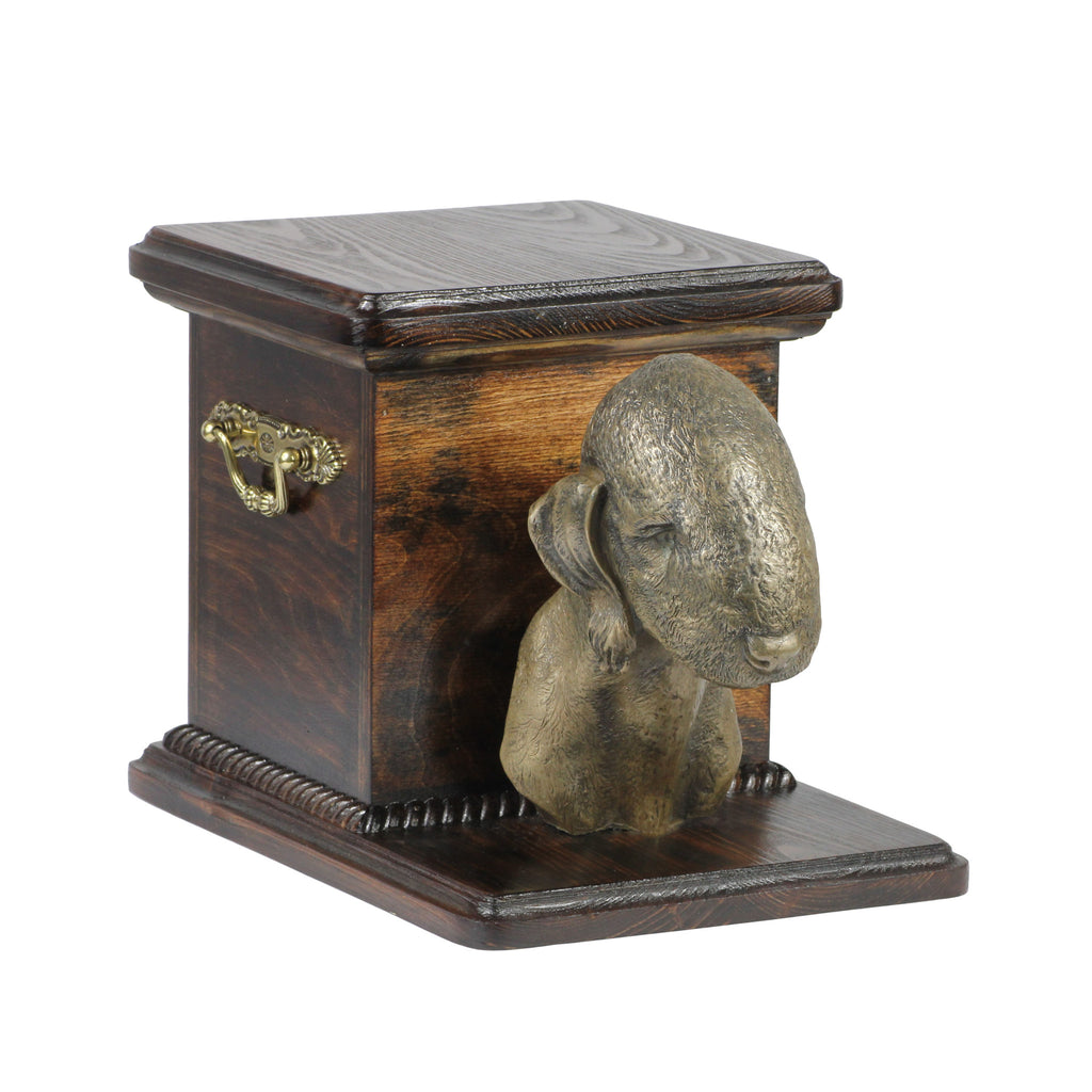 Beautiful  wood casket cremation  urn for dog's ashes with  standing statue Bedlington Terrier (13)