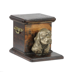 Beautiful  wood casket cremation  urn for dog's ashes with  standing statue American Cocker Spaniel (4) - unique.urns_caskets