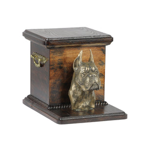 Wood casket cremation urn for dog's ashes box with standing statue Boxer Cropped (21) - unique.urns_caskets
