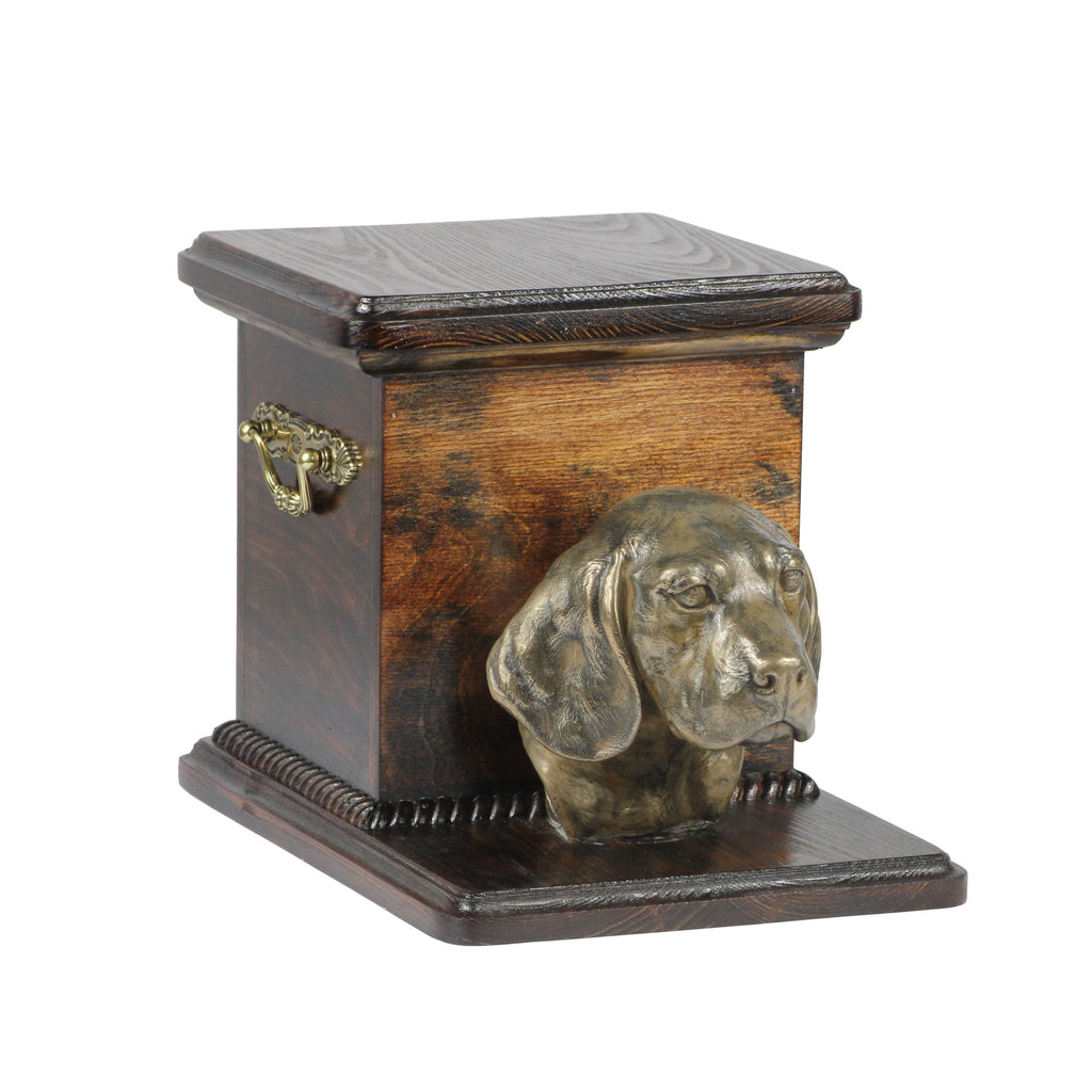 Beautiful  wood casket cremation  urn for dog's ashes with  standing statue Beagle (11)