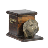 Solid Wood casket cremation urn for dog's ashes with standing statue Bouvier des Flandres (20) - unique.urns_caskets