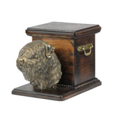 Beautiful  wood casket cremation  urn for dog's ashes with  standing statue Black Russian Terrier (15)