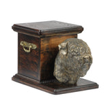 Beautiful  wood casket cremation  urn for dog's ashes with  standing statue Black Russian Terrier (15) - unique.urns_caskets