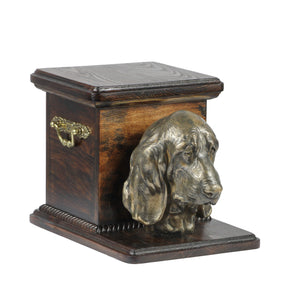 Beautiful  wood casket cremation  urn for dog's ashes with  standing statue Basset Hound (9) - unique.urns_caskets
