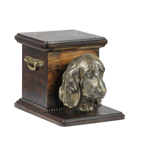 Beautiful  wood casket cremation  urn for dog's ashes with  standing statue Basset Hound (9)