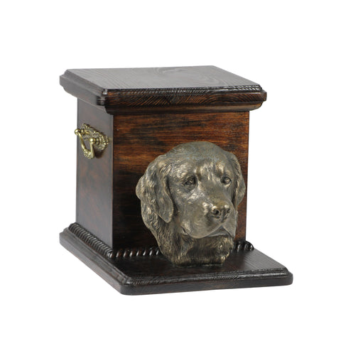 Beautiful  wood casket cremation  urn for dog's ashes with  standing statue Golden Retriever (52)