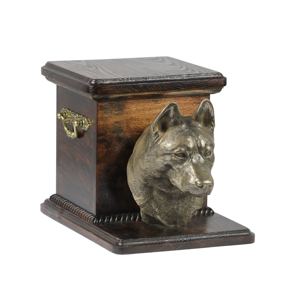 Wood casket cremation urn for dog's ashes with standing statue Alaskan Malamute
