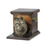 Wood casket cremation urn for dog's ashes with standing statue Alaskan Malamute - unique.urns_caskets