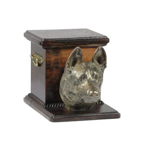 Beautiful  wood casket cremation  urn for dog's ashes with  standing statue  German Shepherd (51) - unique.urns_caskets