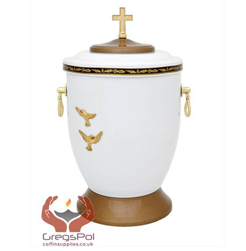 Beautiful White Metal Cremation Urn for Ashes - Gold Cross Funeral Urn For Adult (M58) - unique.urns_caskets