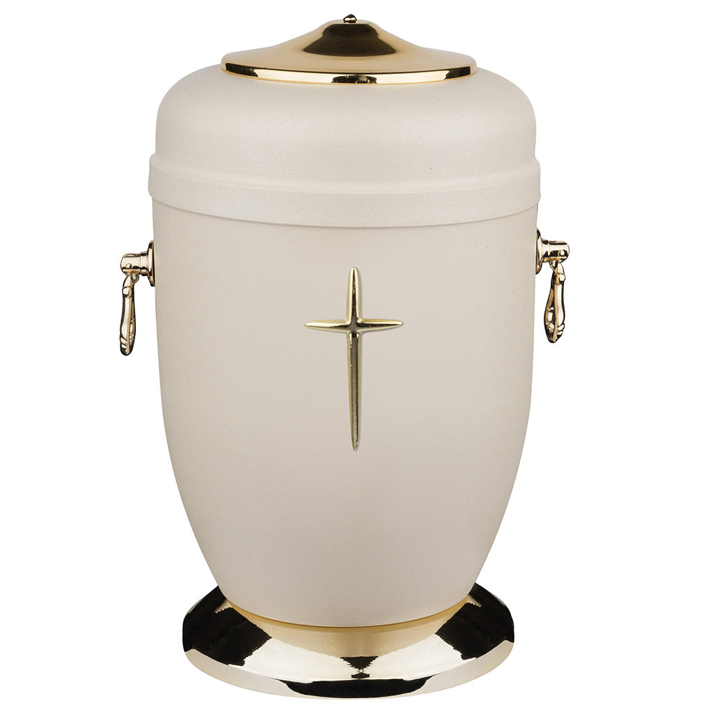 Beautifu Metal Cremation Urn for Ashes with Gold Rose Funeral Urn for Adult (M78A) - unique.urns_caskets