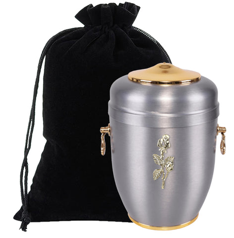 Beautiful Silver  Metal Cremation Urn for Ashes with Rose Adult Cremation Urn (M65) - unique.urns_caskets