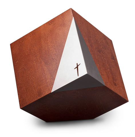 Modern Cremation Urn , Artistic memorial geometric companion urn with cross. (Art31) - unique.urns_caskets