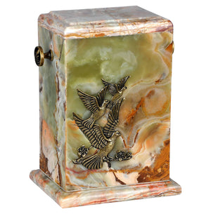 Stone Casket Natural  Onyx  with Flying Doves- Cremation Ashes Urn For Adult (12MG ) - unique.urns_caskets