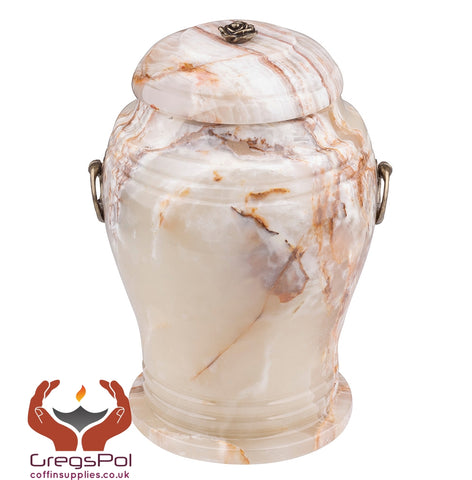 Beautiful natural Stone Onyx Urn with Rose  Unique Human Cremation Urn (2MG) - unique.urns_caskets