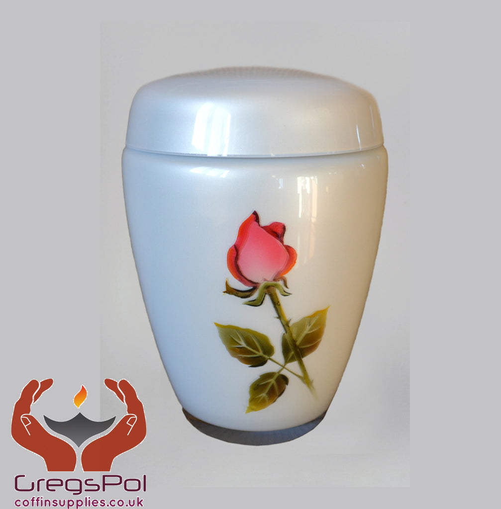 Exclusive Glass Cremation Urn -Rose - Pearl Funeral Urn For Ashes Custom Urn (Rose KR) - unique.urns_caskets