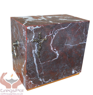 Stone Casket Natural  Marble with Cross Cremation Ashes Urn For Adult (ST1C ) - unique.urns_caskets