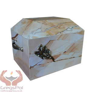 Stone Casket Natural  Sandstone  With Brass Calla Lily Cremation Ashes Urn For Adult (ST4L) - unique.urns_caskets