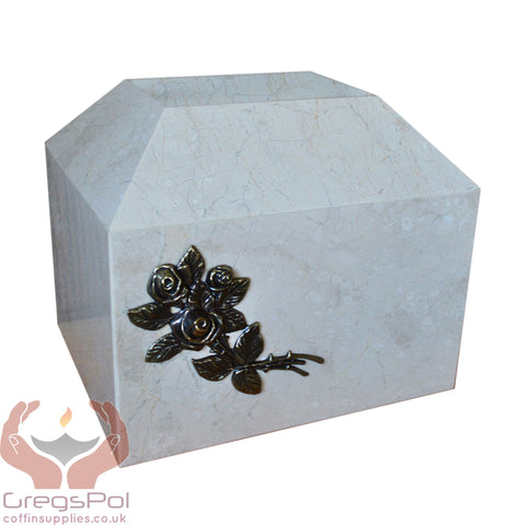 Stone Casket Natural  Marble with Roses Cremation Ashes Urn For Adult (ST5R) - unique.urns_caskets