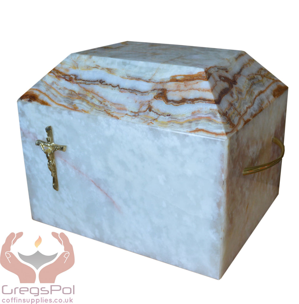 Stone Casket Natural  Onyx  With Gold Cross Cremation Ashes Urn For Adult (ST7C) - unique.urns_caskets