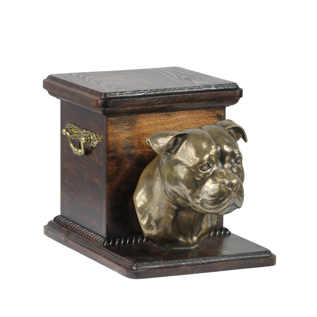 Beautiful  wood casket cremation  urn for dog's ashes with  standing statue  Staffordshire Bull Terrier (84)