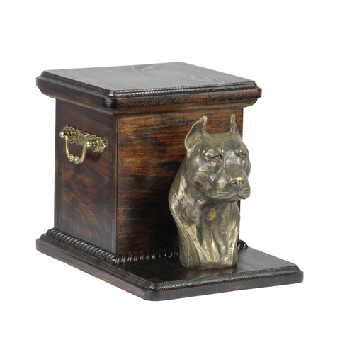 Beautiful  wood casket cremation  urn for dog's ashes with  standing statue American Staffordshire Terrier (7) - unique.urns_caskets