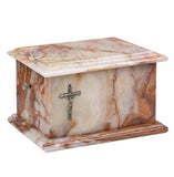 Stone Casket Natural  Onyx with Cross Cremation Ashes Urn For Adult (ST6C) - unique.urns_caskets