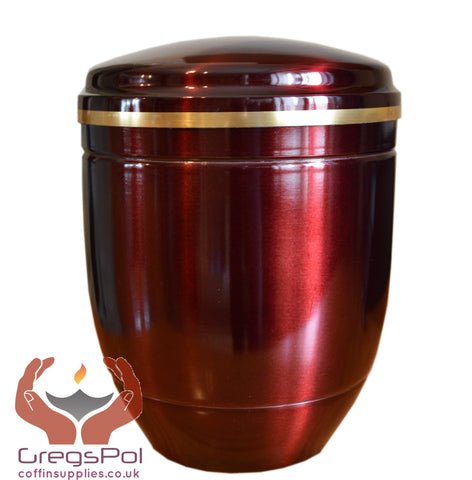 Red Aluminum Cremation Urn for Ashes with Gold Band Funeral Urn For Adult - unique.urns_caskets