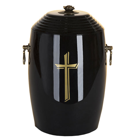 Black Composite Cremation Ashes Urn with Gold Cross .Funeral Urn For Ashes(Uk10) - unique.urns_caskets