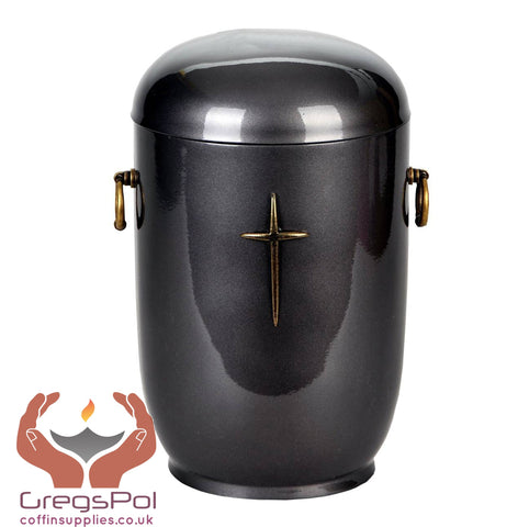 Grey Composite Cremation Ashes Urn with Brass Cross .Funeral Urn For Ashes - unique.urns_caskets