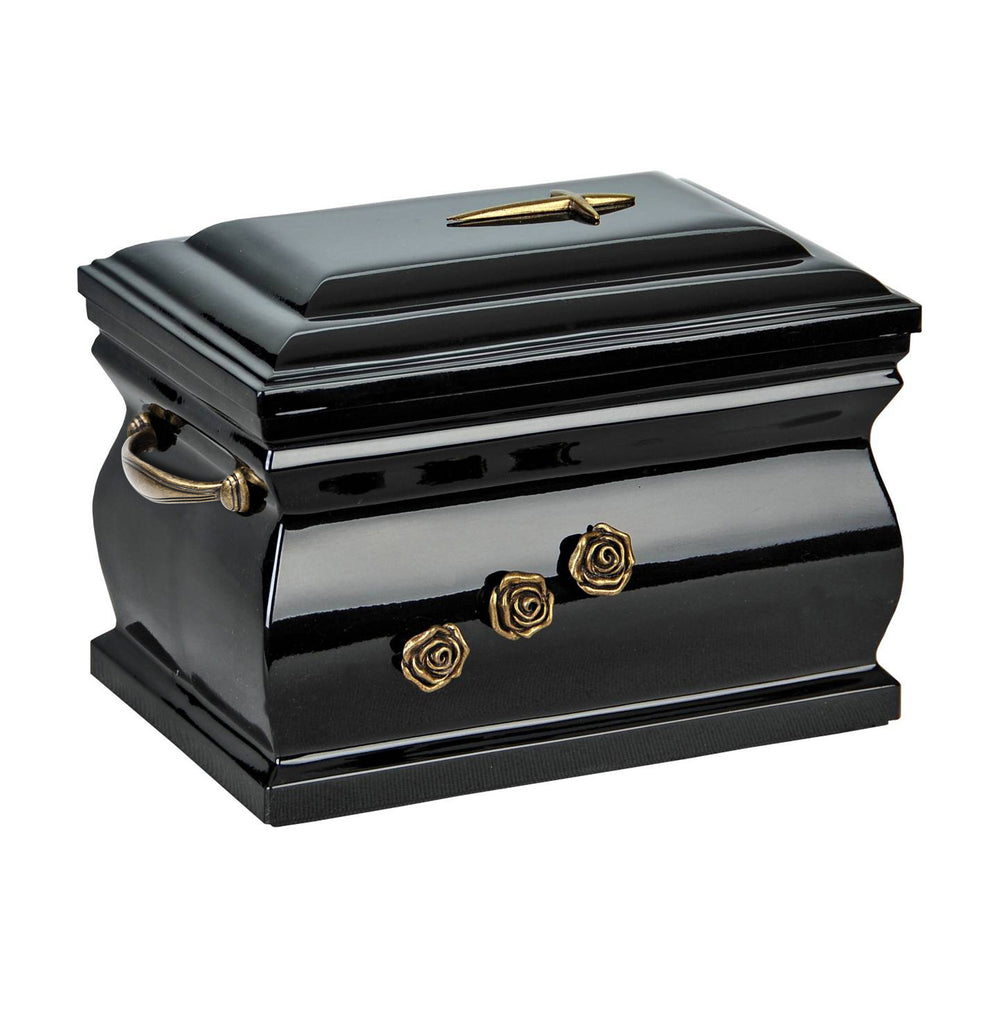 Composite Casket Cremation Ashes Urn For Adult With Brass Roses and Handless(UK89) - unique.urns_caskets