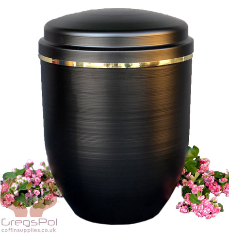Black Metal Cremation Urn for Ashes with Gold Band .Funeral Urn For Ashes(UMA16) - unique.urns_caskets