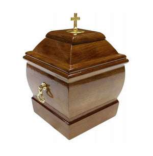 Solid Wood Casket with Cross and Handles Funeral Ashes Urn for Adult Unique Memorial (Wu47C) - unique.urns_caskets