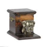 Wood casket cremation urn for dog's ashes box with standing statue Boxer Uncropped (22) - unique.urns_caskets