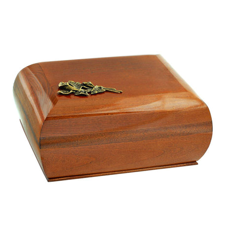 Solid Wood Casket with Brass Calla Lily.Funeral Urn For Ashes.Adult Urn (WU13) - unique.urns_caskets
