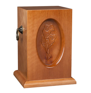 Beautiful Wood Caske Funeral Ashes Urn for Adult Cremation Urn with Calla Lily (WU37) - unique.urns_caskets