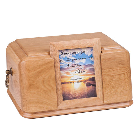 Solid Wood Casket Inset Picture Frame Urn -Memorial Funeral Urn For Adult Ashes(Wu46) - unique.urns_caskets