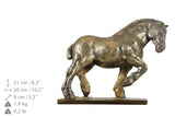 Beautiful solid  wood casket with Bronze Statue - Belgian horse- Percheron horse cremation casket for Horse ashes (2) - unique.urns_caskets - 2