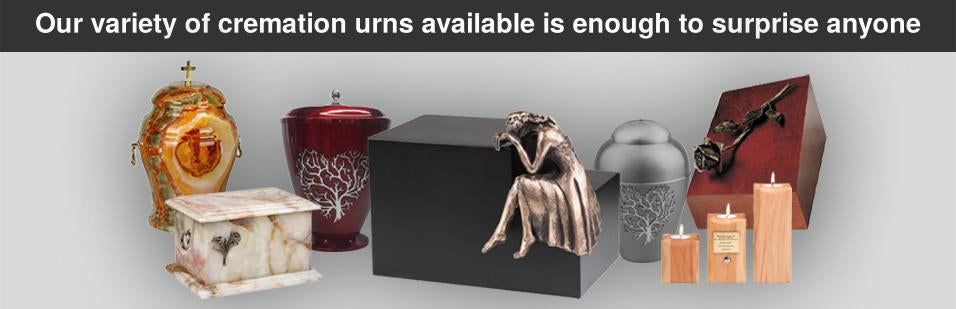 Our variety of cremation urns available is enough to surprise anyone