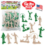 Tim Mee PEOPLE Play Figures: Green and Putty Color 24pc Playset - Made in USA