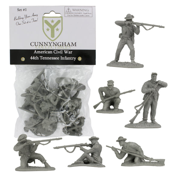 CC CIVIL WAR Confederate Plastic Soldiers - 44th Tennessee 12 GRAY 1:32 Figures