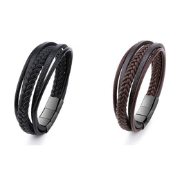 Genuine Leather Bracelet for Men in Black & Brown