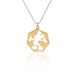 Mickey Silhouette Gold Plated Silver Necklace